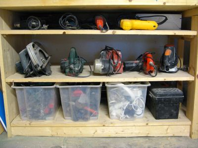 Under The Left Side Of Work Top Is Where We Keep Power Tools Plastic Bins Contain 1 Clamps 2 Assorted Rarely Used Hand Like Paint Scrapers
